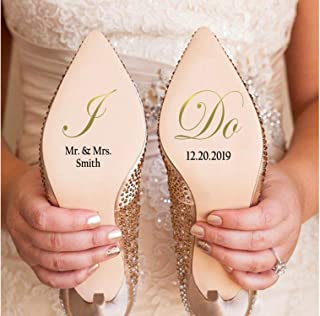 EricauBird Personalsized Marriage I Do Wedding Hoes Decal, Custom Mr. and Mrs. Last Name w/Date, Bride Groom Hoe Stickers Quote Wall Decal Beauty Wall Sticker as a Gift to Your Friend Children Lover
