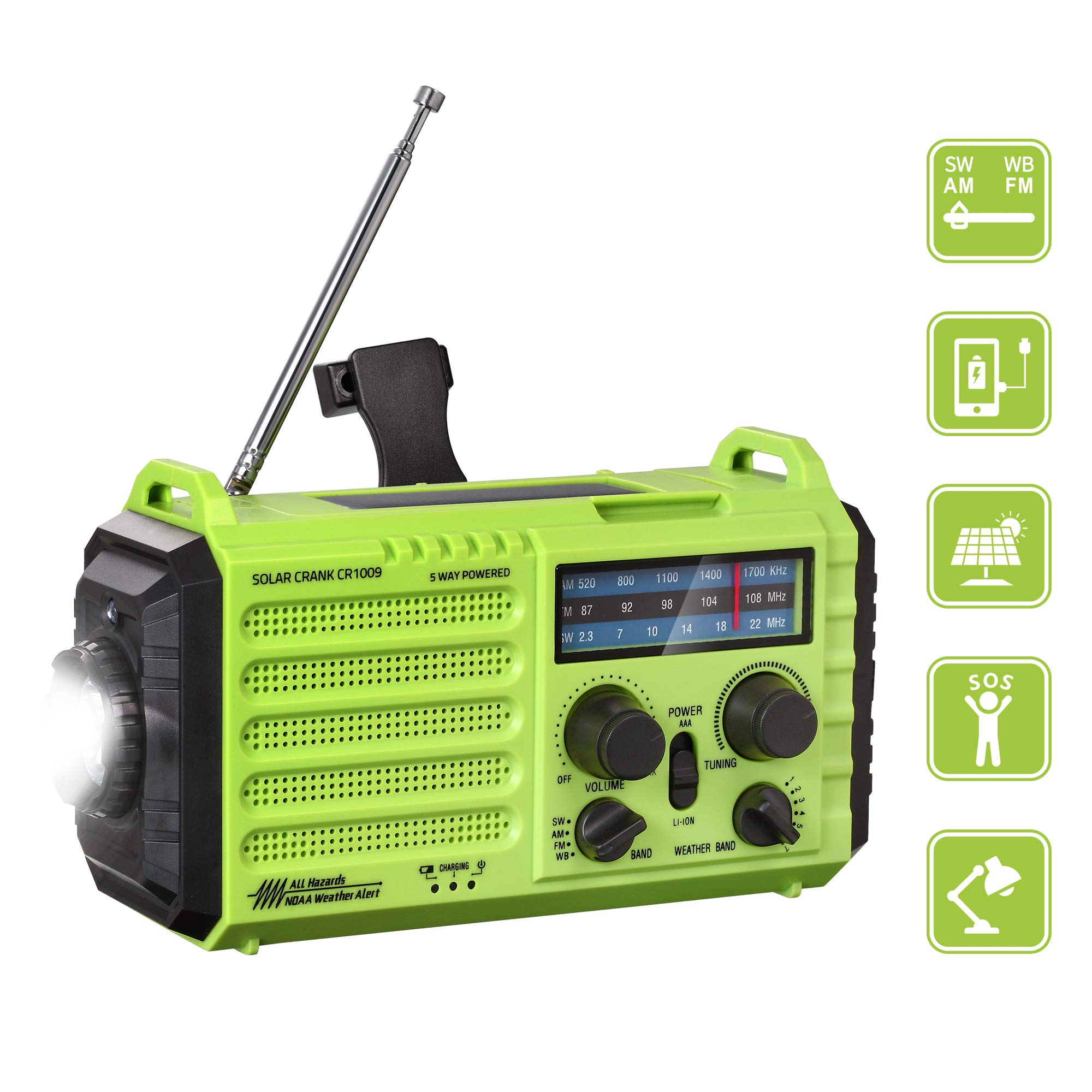 Emergency Portable Weather 2000mAh Flashlight