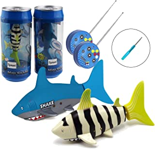 2 Pack Tipmant Mini RC Fish Shark Radio Remote Control Boat Ships & Submarine Swim in Water Pool Bathtub Kids Electric Toy (Yellow & Blue)
