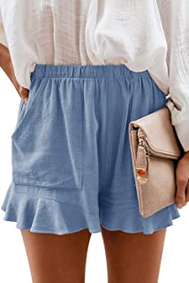 Sponsored Ad - Mosucoirl Women Comfy Drawstring Casual Elastic Waist Pure Color Shorts Summer Beach Lightweight Short Pant...