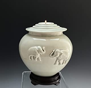 Handmade Ceramic Cremation Elephant Urn with Celadon Glaze, DISCOUNTED, SacredUrnsEtc by Susan Fontaine Pottery
