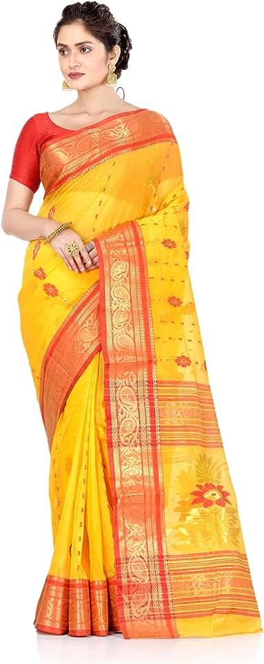 Indian Brajawasi Women's Pure Cotton Bengal Tant Handloom Saree Without Blouse Piece Saree