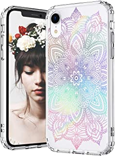MOSNOVO iPhone XR Case, Clear iPhone XR Case, Rainbow Henna Mandala Pattern Clear Design Transparent Plastic Hard Back Case with Soft TPU Bumper Protective Case Cover for Apple iPhone XR