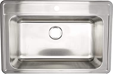 ZUHNE Drop In Kitchen, Bar and RV Stainless Steel Sink (33x22 Single Bowl)