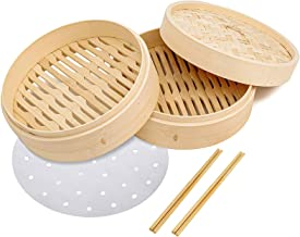 10 inch Bamboo Steamer Basket, 2 Tier Natural Bamboo Steamer for Dumplings with Lid, Contains 30 x Liners, 2 Sets Chopsticks