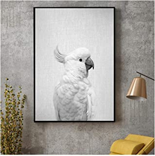 XuFan Black & White White Cockatoo Canvas Painting Art Print Poster Picture Wall Modern Minimalist Bedroom Living Room Decoration/50X70cm-No Frame