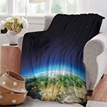 KFUTMD Boys Throw Blanket Russia from The Space Starry Night Sky Vivid Lands Science Cartography Blue Green Pale Brown Sofa Camping Reading Car Travel W40 xL60