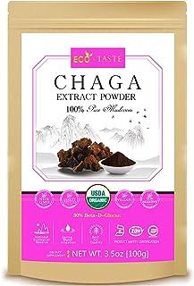 Wild Forest Chaga Mushroom Extract Powder 5:1,USDA Organic, 30% Beta-D-Glucan Supplement, 3.5oz