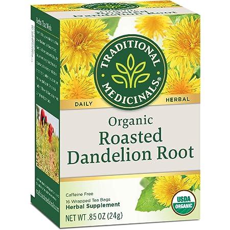 Traditional Medicinals Herbal Teas オーガニックロースト ダンデライオンルート カフェインフリー 16 ティーバッグ包装 85 オンス 24 g