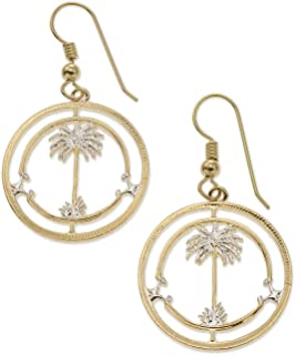 Palm Tree Earrings, British West Africa Coin Hand Cut, 7/8