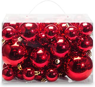 AMS Christmas Ball Plating Ornaments Tree Collection for Holiday Parties Decoration (40ct Brilliance, Red)