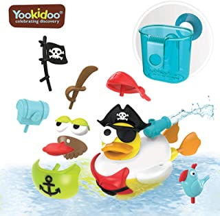Yookidoo Jet Duck Pirate Bath Toy with Powered Water Cannon Shooter - Sensory Development & Bath Time Fun for Kids - Ages 2+