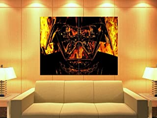 Darth Vader Mask Fire Flames Star Wars Art 47x35 Huge Giant Print Poster