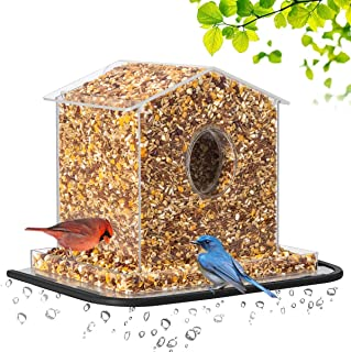 HHXRISE Large Size Bird Feeder Bird House 2 in 1 with Strong Suction Cups & Seed Tray,Window Bird Feeders Outdoor Acrylic Bird House with Wide Standing Edge