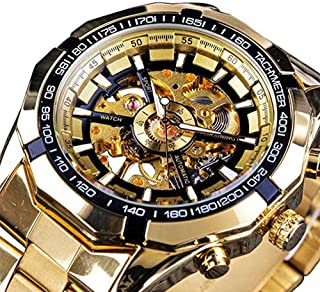 Skeleton Automatic Mechanical Watch Self-Winding (with Manual Winding) for Mens Stainless Steel Watch Waterproof Luminous (Gold)