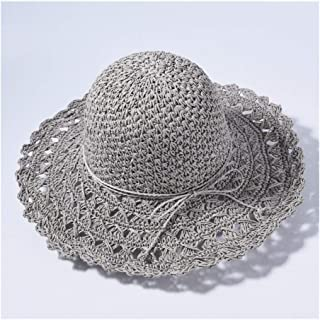Hat Lady Straw Big Straw hat Visor Female Sunscreen Holiday Travel Beach hat Sun hat` TuanTuan (Color : Grey)