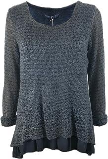 Amavisse - Camicia da donna alla moda sciolto primavera camicetta a maglia lucida