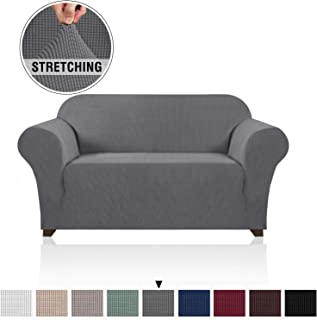 Loveseat Slipcovers for 2 Cushion Couch 1 Piece Furniture Protector/Cover with Elastic Bottom Anti-Slip Foam Rich Textured Lycra High Spandex Small Checks Pattern (Loveseat, Gray)
