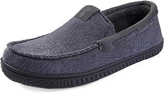 ZIZOR Mocasines de Ante para Hombre, cómodos Zapatos de casa de Espuma viscoelástica con Suela de Goma Antideslizante