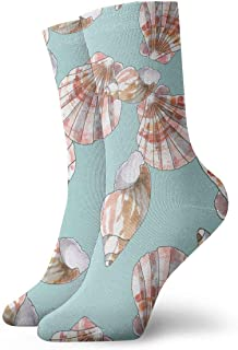 Vintage Watercolor Shells Pink Pattern Socks Colorful Fun Sport Athletic Calcetines For Men & Women