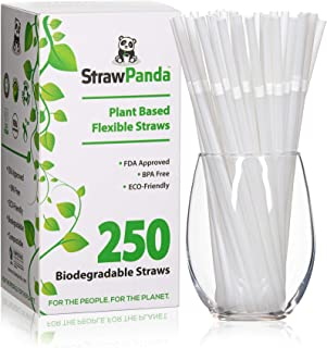 Biodegradable Plant Based Drinking Straws by StrawPanda- (250 Pack) 100% Compostable, an Eco Friendly Alter...