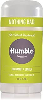 Humble All Natural Deodorant, Aluminum and Paraben Free, Cruelty Free Men's and Women's Deodorant, Bergamot and Ginger, 1-Pack