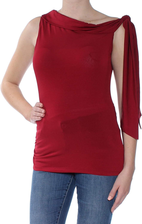 Max Studio Womens Textured Shoulder Tie Casual Top