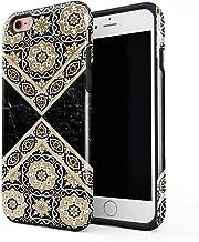 Cover Universe Funda para iPhone 6 Plus & 6s Plus Black & Gold Marble Moroccan Mosaic, Resistente a los Golpes, Carcasa Dura de PC de 2 Capas + Funda Protectora de Diseño Híbrido de TPU