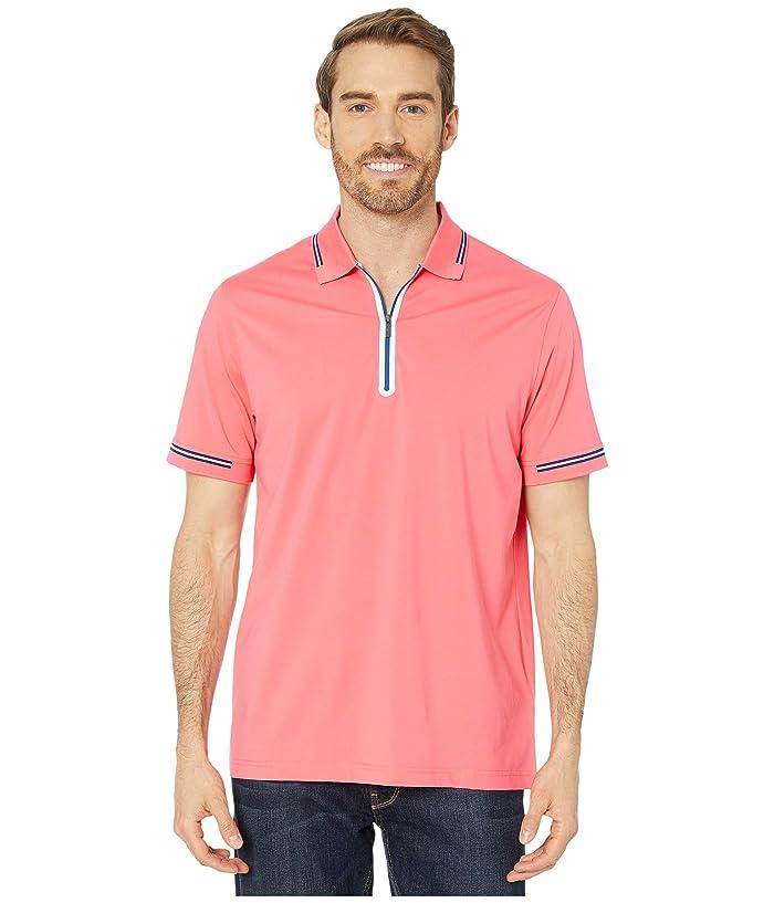 BUGATCHI  Gastone Short Sleeve Knit 1/2 Zip Polo (Coral) Mens Clothing