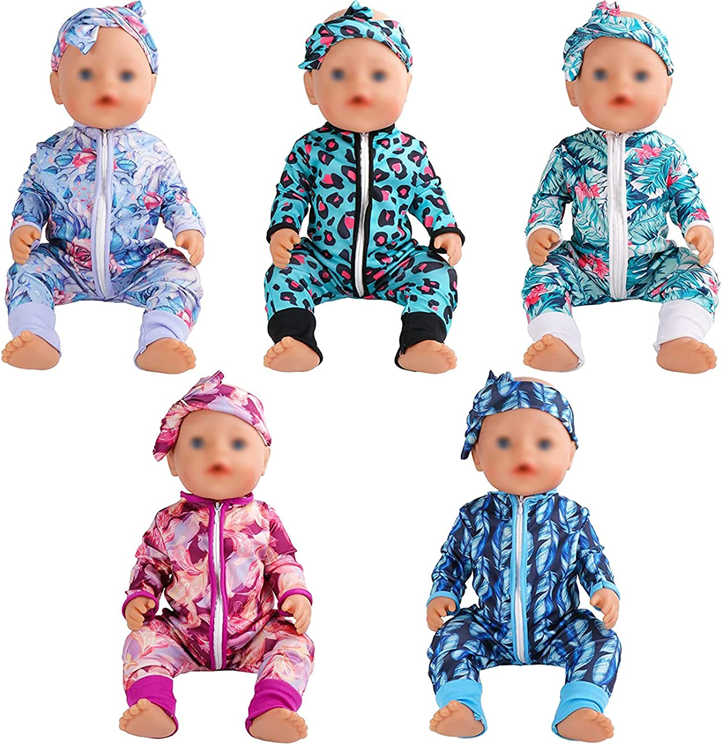 SOTOGO 5 Sets Baby Doll In a popularity Jumpsuits with Outfits Clothes Headban Limited time cheap sale