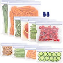 Salandens Bolsas de almacenamiento reutilizables,paquete de 10 bolsas de congelador a prueba de fuga,Bolsa de almuerzo reu...