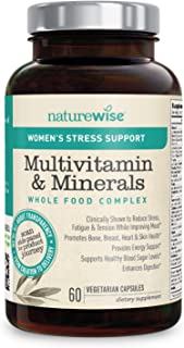 NatureWise Women's Stress Support Multivitamin and Minerals Whole Food Complex with Sensoril Ashwagandha, Probiotics, 12 W...