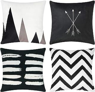 pendali Set of 4 Velvet Pillow Covers Modern Simplicity Decorative Square Pillowcase Soft Pillow Cover for Living Room Sof...
