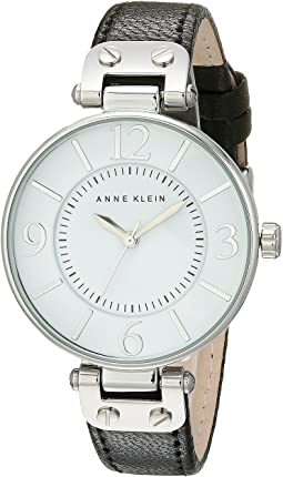 Anne Klein - 109169WTBK Round Dial Leather Strap Watch