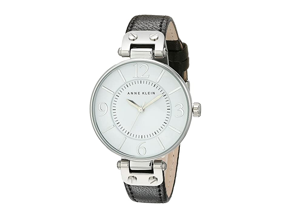 Anne Klein - Anne Klein 109169WTBK Round Dial Leather Strap Watch