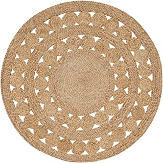 Green Decore Handmade Braided Round Natural Fiber Jute Rug (Excel Natural, 6 feet Diameter)