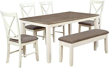 Amazon Com Farmhouse Table With Bench And Chairs