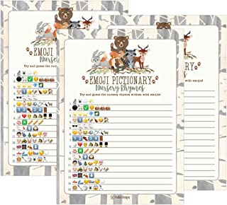 25 Woodland Emoji Nursery Rhyme Baby Shower Game Party Ideas For Pictionary Quiz, Boys Girls Kids Men Women and Couples, Cute Classic Bundle Pack Set Gold Gender Neutral Unisex Fun Coed Guessing Card