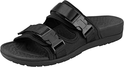 Everhealth Orthotic Sandal Women Buckle Slide Sandals Peep Toe Outdoor Slippers with Arch Support for Plantar Fasciitis Black Size: 5 Women/4 Men