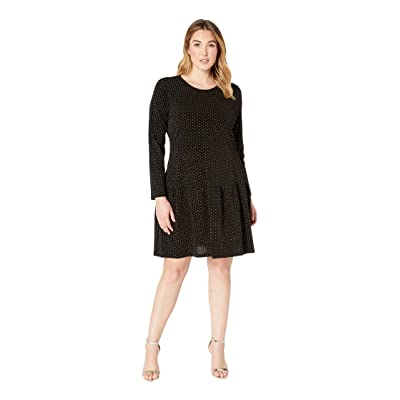 MICHAEL Michael Kors Plus Size Long Sleeve Shirred Skirt Dress (Black/Gold) Women