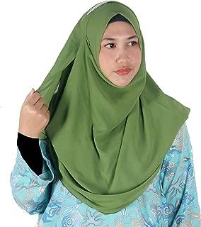 Womens Moss Green Plain Double Loop Instant Chiffon Hijab Scarf Ready Wear