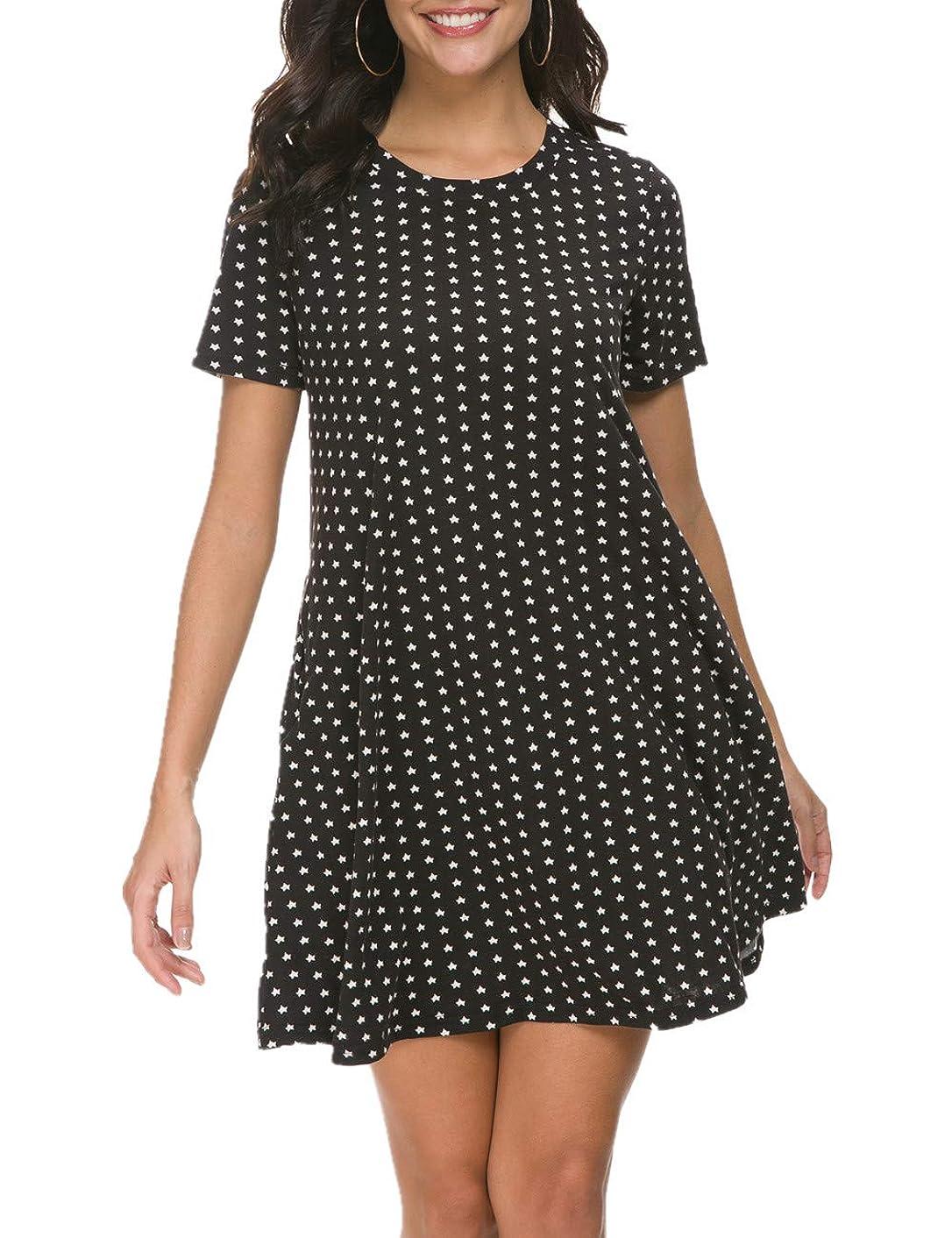 VOBCTY Women's Casual Scoop Neck Short Sleeve Swing T-Shirt Dresses