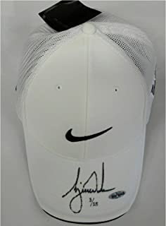 Tiger Woods Signed Autograph White Nike Victory Swoosh Logo Hat Cap /25 - Upper Deck Certified - Autographed Golf Equipment