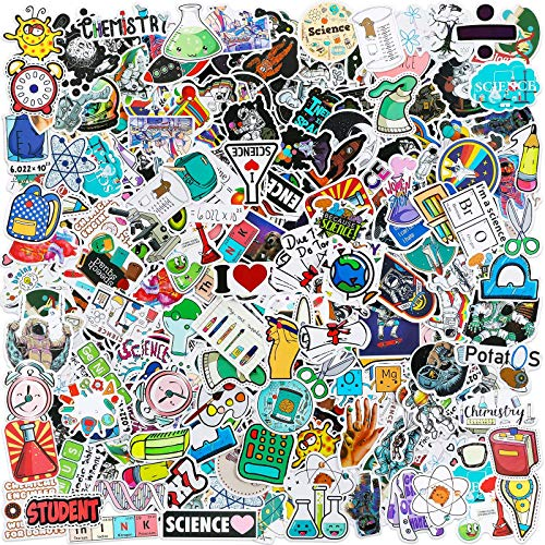 200 Pieces Student Science Laboratory Stickers and Astronaut Space Sticker Set for Laptop Water Bottle Guitar Skateboard, Teens Kids Personalized Decals