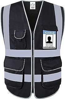 XIAKE 8 Pockets Class 2 High Visibility Safety Vest Reflective, Zipper Front, Black, ANSI/ISEA Standards (Large, Black-8 Pockets)