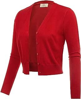 Women's Open Front Knit Cropped Bolero Shrug Cardigan Sweater Long Sleeve (S-4XL)