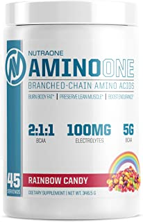 AminoOne BCAA Powder Supplement by NutraOne – Branched Chain Amino Acids to Help Fuel and Recover (Rainbow Candy - 45 Serv...