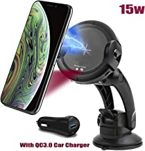 Wireless Car Charger DoSHIn Automatic Qi Car Mount 15W/10W/7.5W Fast Charging Car Phone Holder Air Vent & Dashboard Compatible with iPhone Xs/Xs Max/XR/X/8/8 Plus, Samsung Galaxy Note 9/S9/S9+/S8/S8+