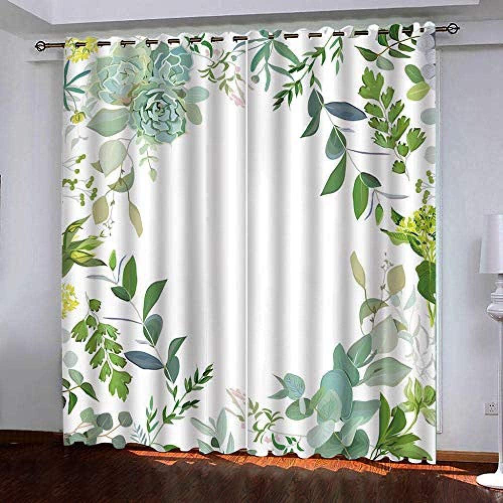 Grommet trend rank Blackout Curtains Green Plants Room Redu Max 74% OFF Darkening Noise