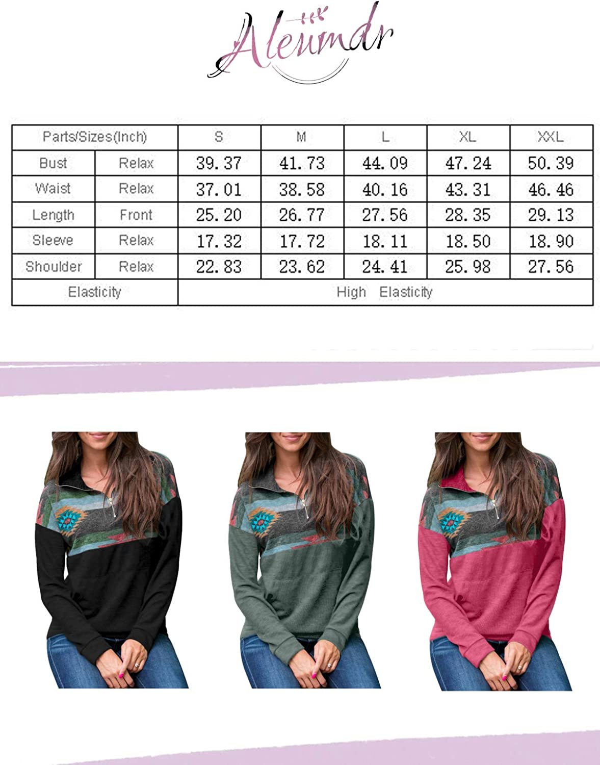 Aleumdr Women Casual Long Sleeve 1//4 Zipper Color Block Sweatshirts Stand Collar Pullover Tunic Tops with Pockets S-XXL
